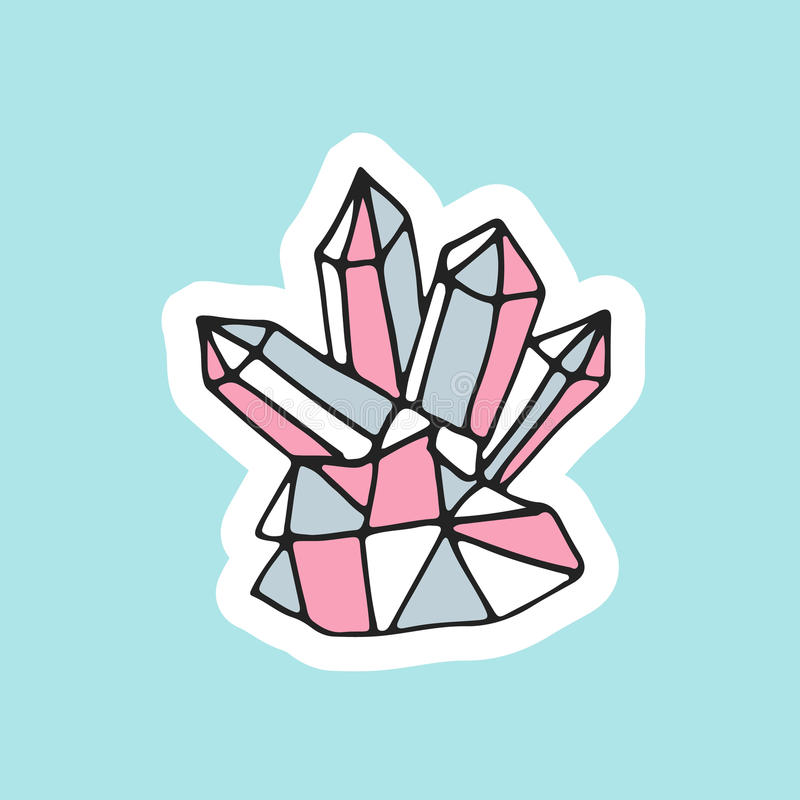 Leuk hand getrokken magisch kristal in flardstijl Groot ontwerp van bergkristal voor borduurwerk, sticker of speld royalty-vrije illustratie