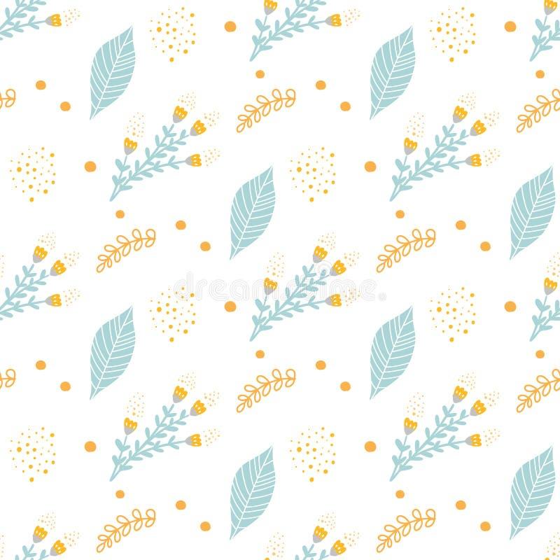 Leuk hand getrokken naadloos patroon met beeldverhaal bloemen magische elementen voor jonge geitjes royalty-vrije illustratie