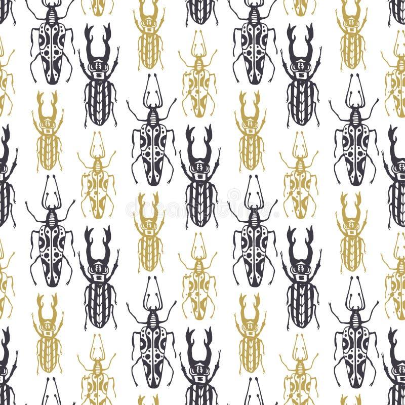 Leuk hand getrokken naadloos patroon met insectkevers in gouden en zwarte kleur De uitstekende geweven vector van de stijltatoege vector illustratie