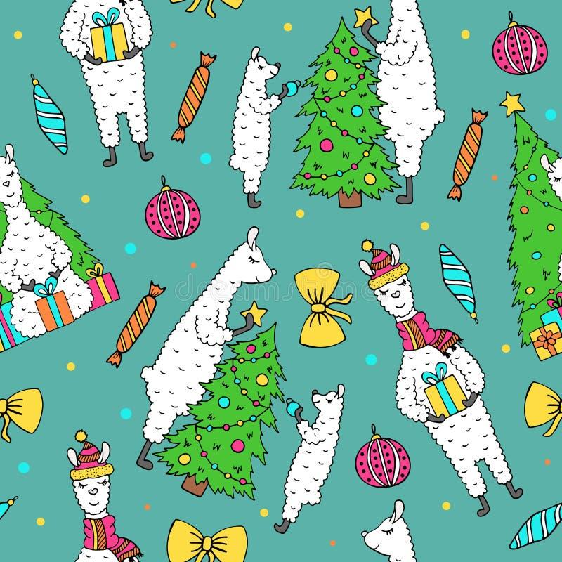 Leuk hand getrokken naadloos patroon met mooie lama's vector illustratie