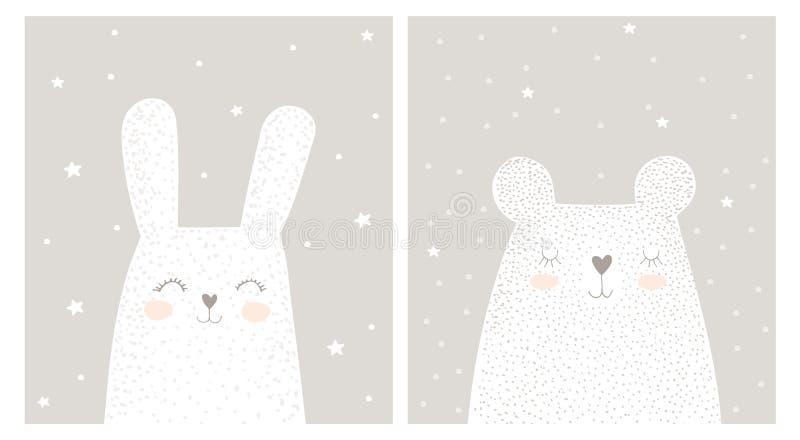 Leuk Hand Getrokken Wit Konijn en Teddy Bear Vector Illustration Set royalty-vrije illustratie