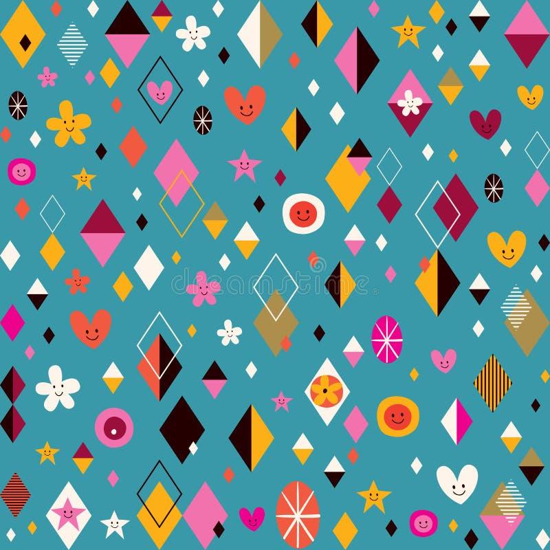 Leuk harten, sterren, bloemen en van diamantvormen funky retro patroon vector illustratie