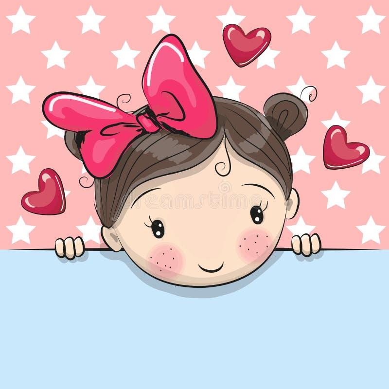 Leuk het Beeldverhaalmeisje van de groetkaart met aanplakbiljet royalty-vrije illustratie