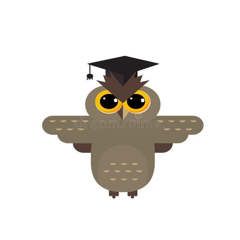 Leuk het embleem vectorontwerp van de schooluil royalty-vrije illustratie