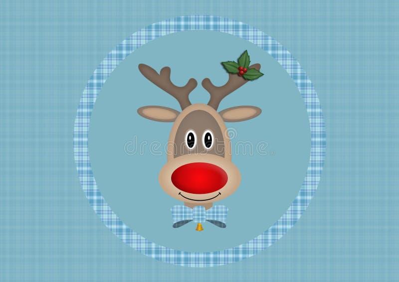Leuk het glimlachen rendier in cirkel op lichtblauwe achtergrond met plaidpatroon, Kerstkaartontwerp royalty-vrije illustratie