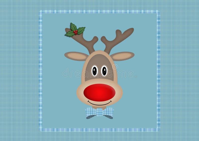Leuk het glimlachen rendier in vierkant op lichtblauwe achtergrond met plaidpatroon, Kerstkaartontwerp royalty-vrije illustratie