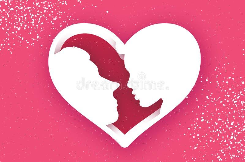 Leuk Houdend van Paar kissing Mensenprofiel Man en Vrouw Het frame van het hart Vakantie en viering op roze gelukkig royalty-vrije illustratie