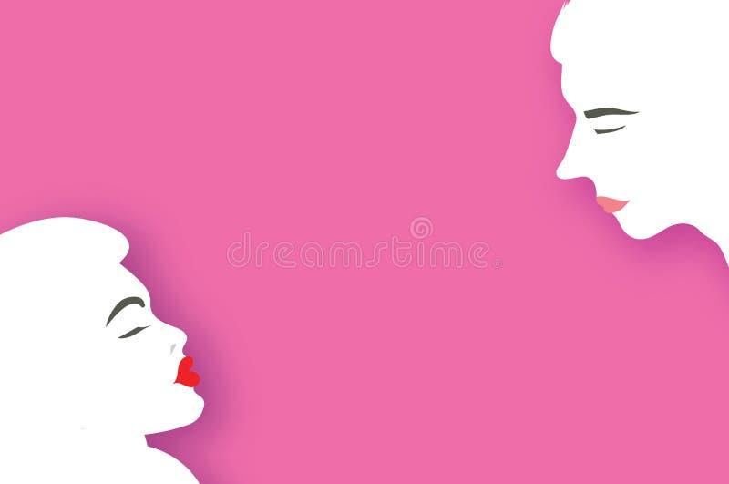 Leuk Houdend van Paar kissing Mensenprofiel Man en Vrouw Vakantie en viering op roze De gelukkige Dag van de Valentijnskaart `s royalty-vrije illustratie