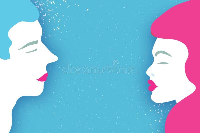 Leuk Houdend van Paar kissing Mensenprofiel Mooie Man en roze haarvrouw Vakantie en viering op blauw gelukkig royalty-vrije illustratie