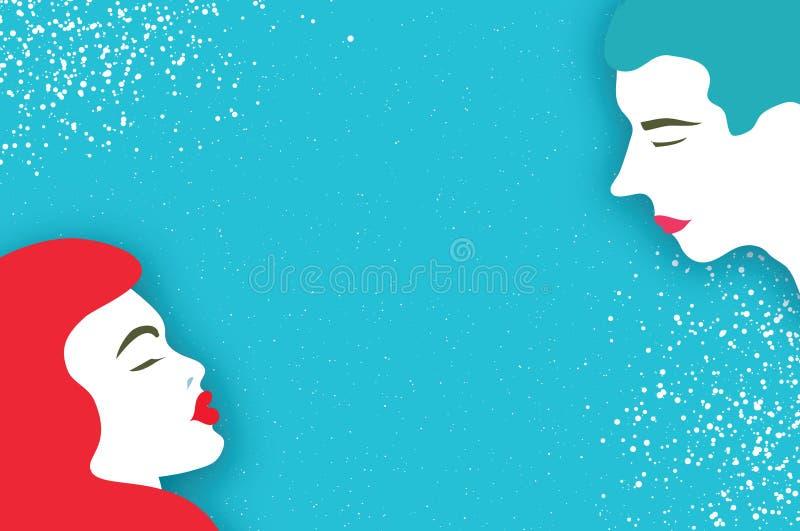 Leuk Houdend van Paar kissing Mensenprofiel Mooie mens stock illustratie