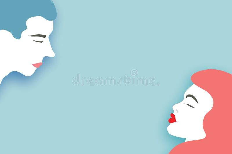 Leuk Houdend van Paar kissing Vakantie en viering op blauw De gelukkige Dag van de Valentijnskaart `s De liefdedag in document sn stock illustratie