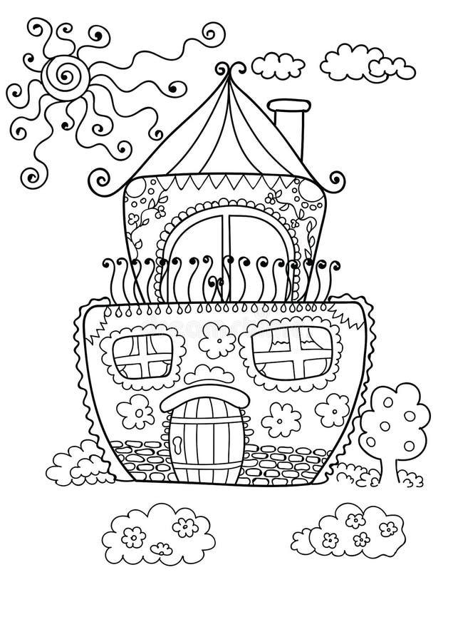 Leuk huis voor het kleuren van pagina royalty-vrije illustratie