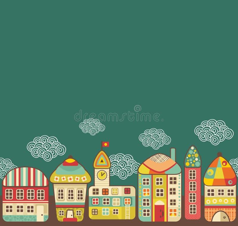 Leuk huizen naadloos patroon. royalty-vrije illustratie
