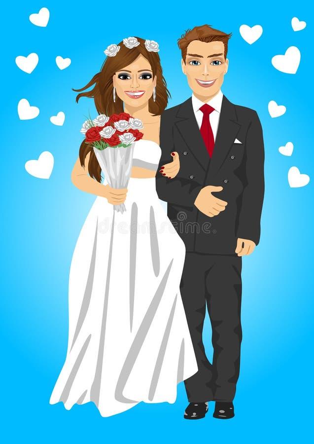 Leuk jong echtpaar die houdend boeket het glimlachen stellen stock illustratie