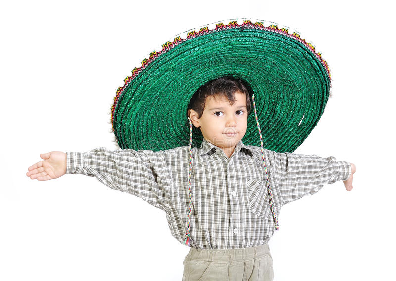 Leuk jong geitje met Mexicaanse hoed royalty-vrije stock afbeeldingen