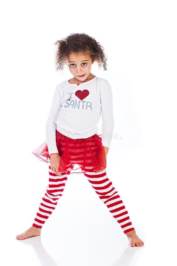 Leuk jong jong geitje in de uitrusting van Kerstmis royalty-vrije stock afbeeldingen