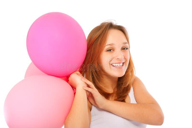 Leuk jong meisje met ballons royalty-vrije stock fotografie