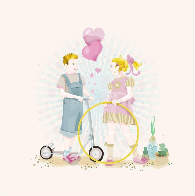 Leuk jongen en meisje royalty-vrije illustratie