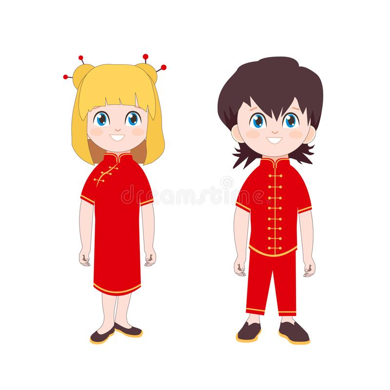 Leuk Jongen en Meisje in traditioneel Chinees kostuum De geïsoleerde Vectorillustratie van het beeldverhaalkarakter met Gelukkige vector illustratie