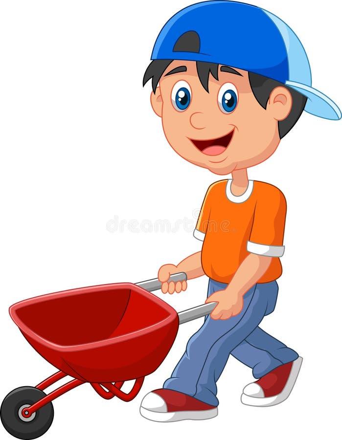 Leuk jongensbeeldverhaal die een kruiwagen duwen vector illustratie