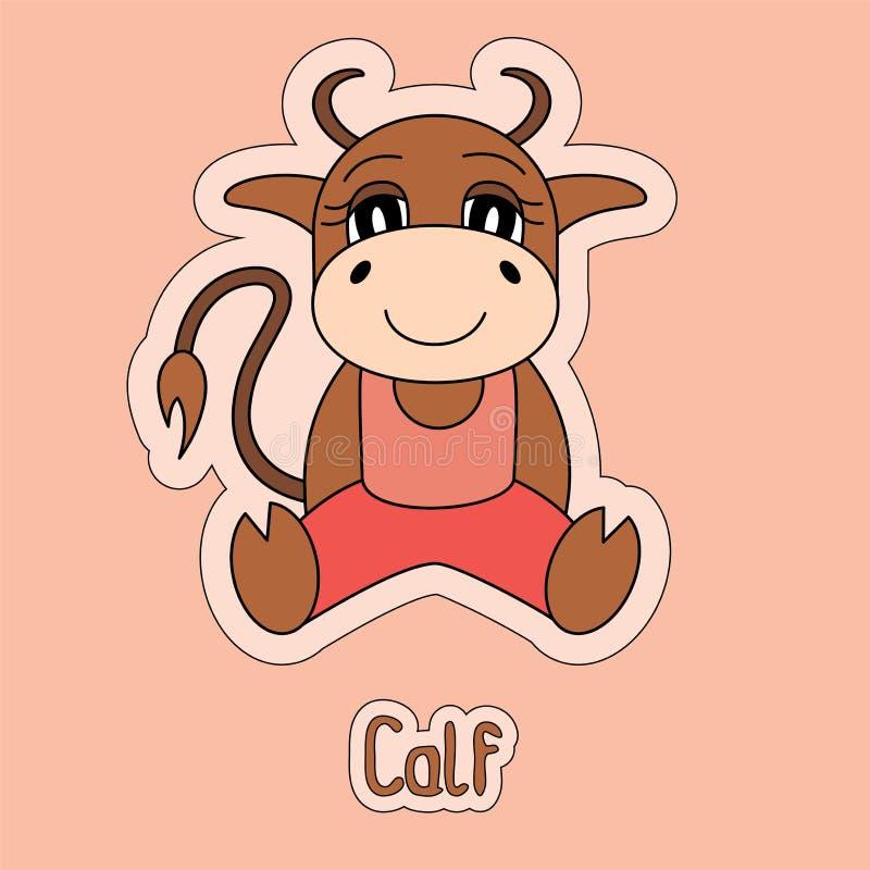 Leuk kalf, stier, koe, buffels, os, beeldverhaalsticker, grappig dier royalty-vrije illustratie