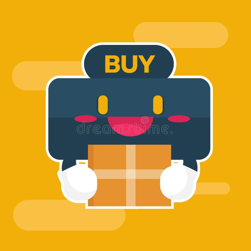 Leuk karakter Koop knoop online het winkelen concept Vlakke vectorillustratie stock illustratie
