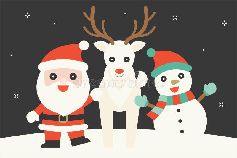 Leuk karakter van Santa Claus, sneeuwrendier en sneeuwman stock illustratie