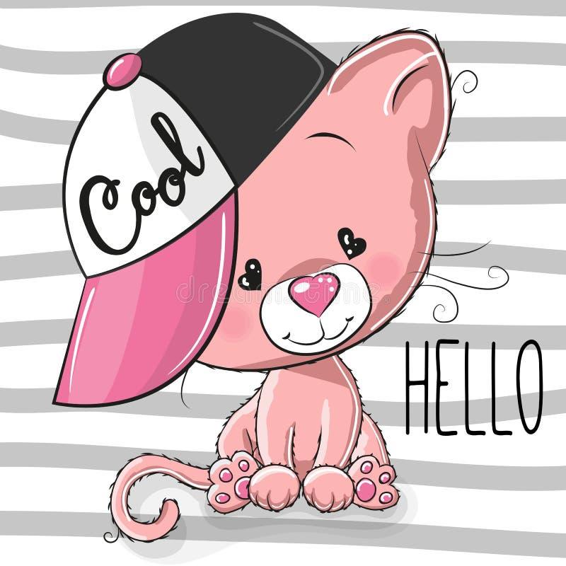 Leuk Katje met een roze GLB stock illustratie