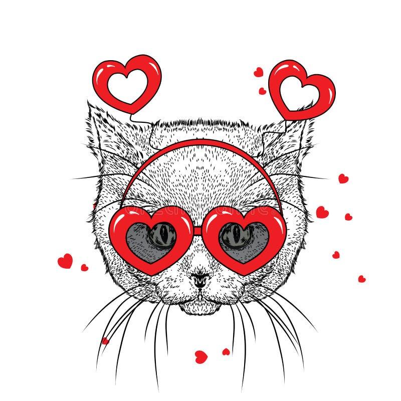Leuk katje in toebehoren met harten Vectorillustratie voor een prentbriefkaar of een affiche, druk voor kleren De dag van de vale stock illustratie