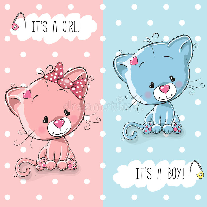 Leuk Katjesjongen en meisje vector illustratie