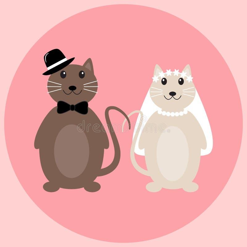 Leuk kattenhuwelijk in vector vector illustratie