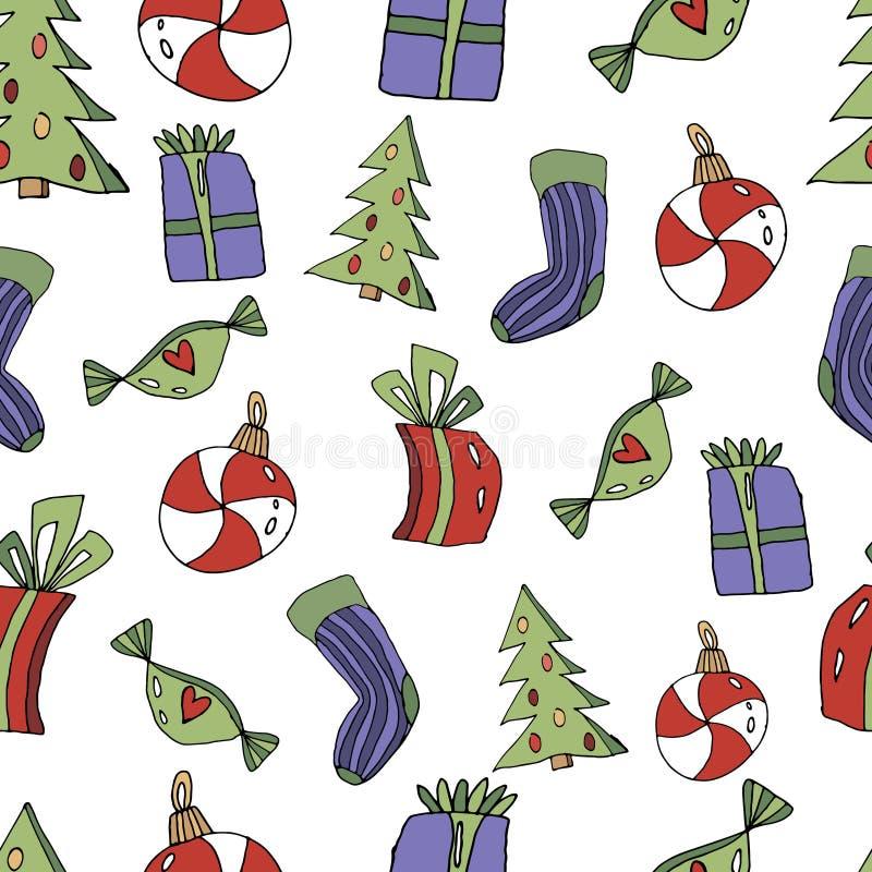 Leuk Kerstmis naadloos patroon in beeldverhaalstijl Sok, giften, Kerstboom, stuk speelgoed in de vorm van een suikergoed Kerstmis royalty-vrije illustratie