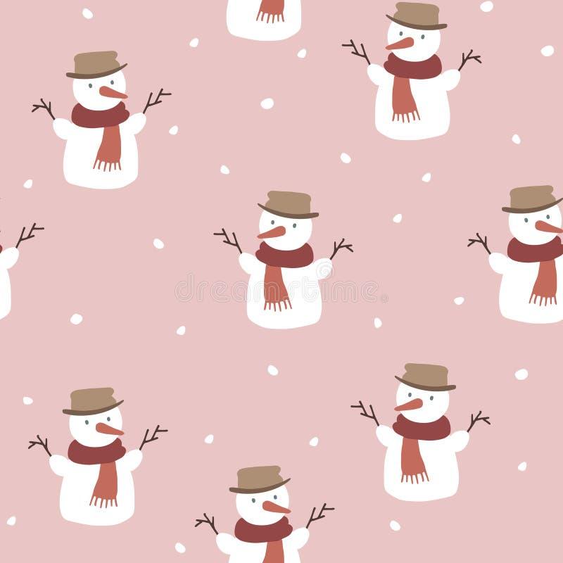Leuk Kerstmis naadloos patroon met sneeuwmannen en dalende sneeuwvlokken Hand getrokken jonge geitjes noords ontwerp De wintervec vector illustratie