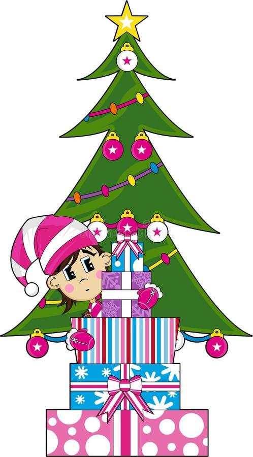 Leuk Kerstmiself met Giften stock illustratie