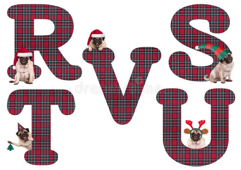 Leuk Kerstmispug van het alfabetbrieven R S T van de puppyhond U V vector illustratie