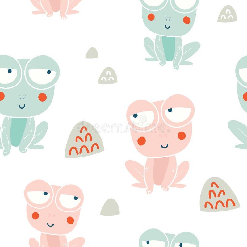 Leuk kikkers naadloos patroon stock illustratie