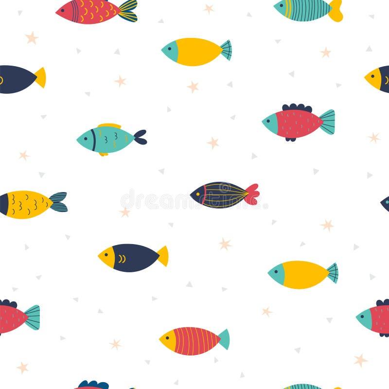 Leuk kinderachtig naadloos patroon in beeldverhaalstijl Grappig weinig vis Mariene achtergrond Jonge geitjestextuur Overzees, oce vector illustratie