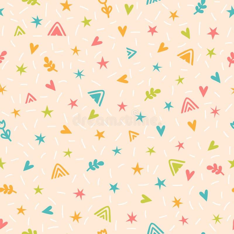 Leuk kinderachtig naadloos patroon met hand getrokken beeldverhaalelementen Achtergrond in Skandinavische stijl Groot voor verjaa stock illustratie