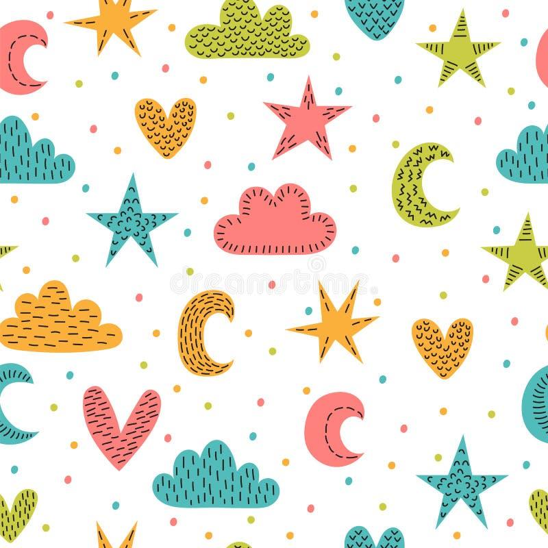 Leuk kinderachtig naadloos patroon met hand getrokken ontwerpelementen Achtergrond in Skandinavische stijl met sterren, maan, har vector illustratie