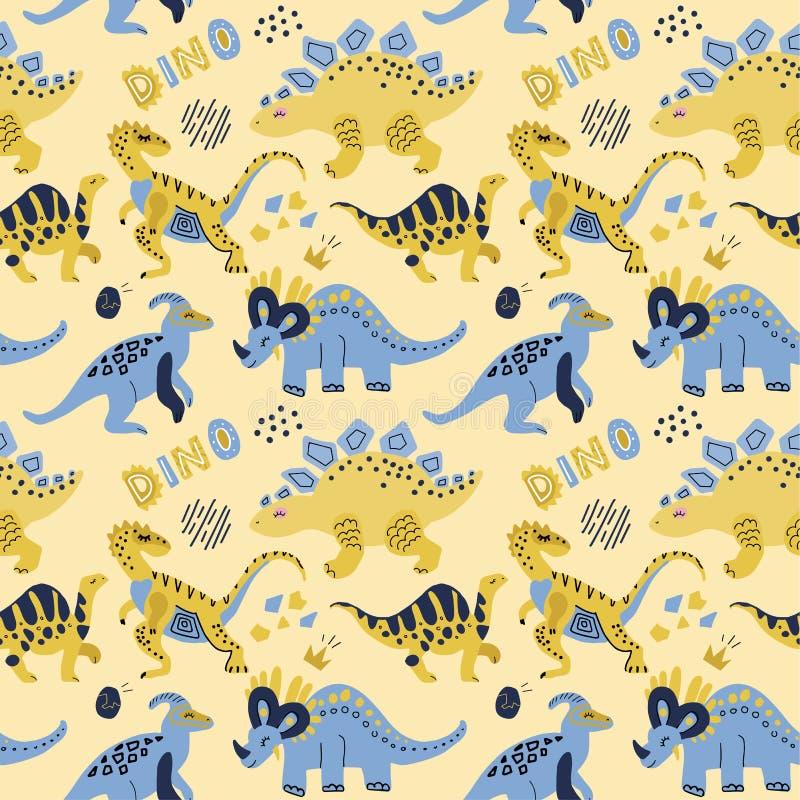 Leuk kinderachtig naadloos vectorpatroon met dinosaurussen met eieren, decor en woorden Dino Grappig beeldverhaal Dino Hand getro royalty-vrije illustratie