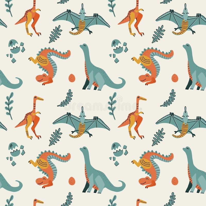 Leuk kinderachtig naadloos vectorpatroon met dinosaurussen t -t-rex met eieren, decor De grappige pterodactylus van beeldverhaald stock foto's