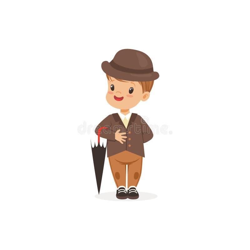 Leuk kleedde weinig jongen zichdie bruine kostuum en hoedenholdingsparaplu dragen, jonge heer omhoog in klassieke retro stijlvect stock illustratie