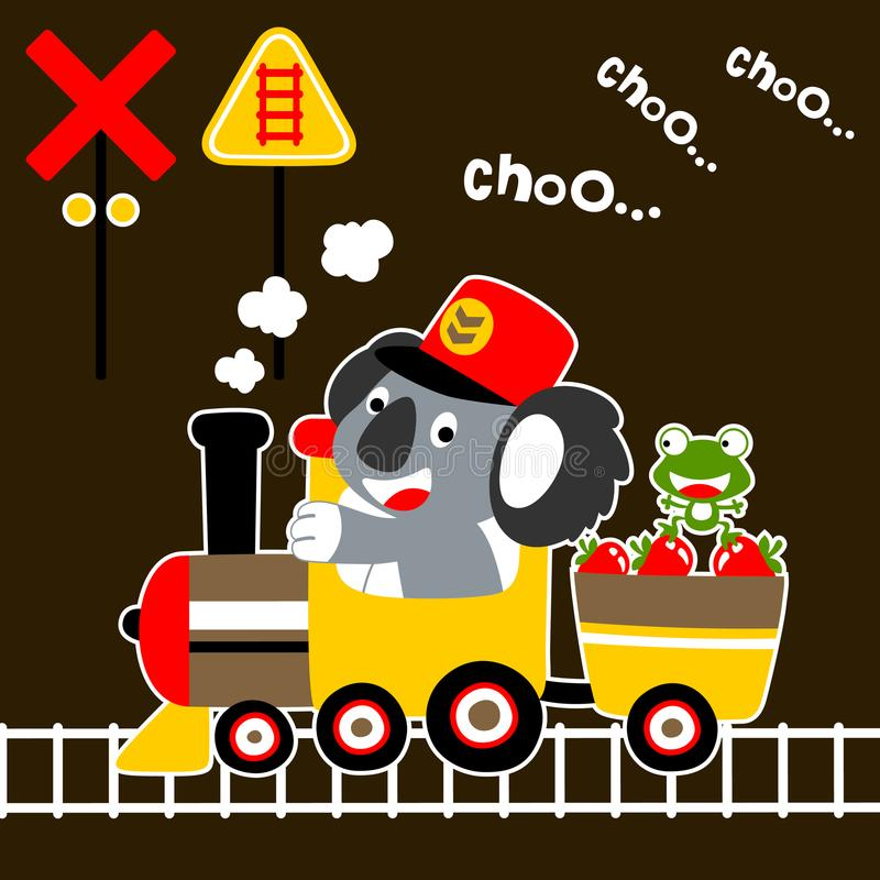 Leuk klein dierenbeeldverhaal op steenkooltrein vector illustratie