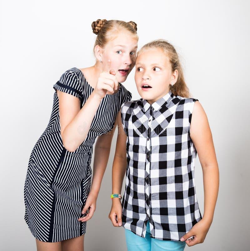 Leuk klein meisje twee die verschillende emoties uitdrukken Grappige Jonge geitjes De beste vrienden vertroetelen en stellend royalty-vrije stock fotografie
