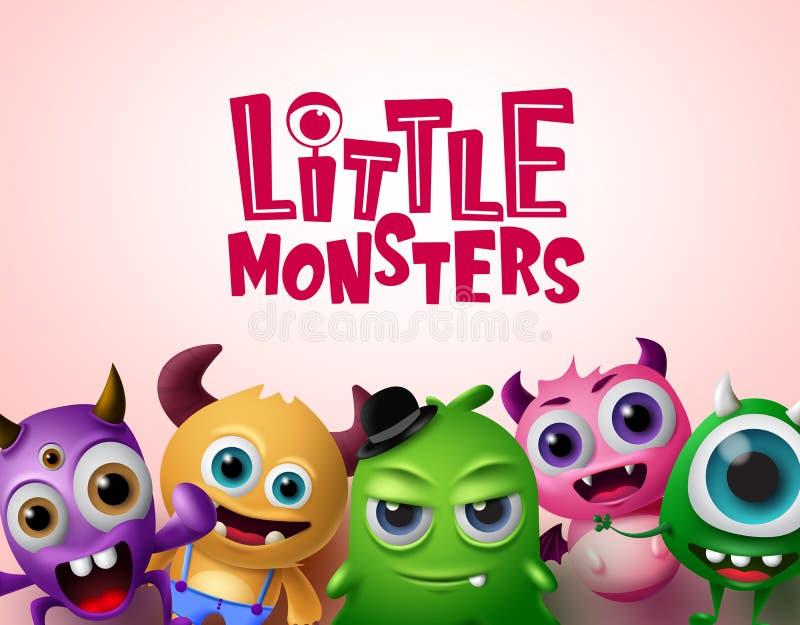 Leuk klein van monsters 3d realistisch karakters vectormalplaatje als achtergrond Kleine monsterstekst vector illustratie