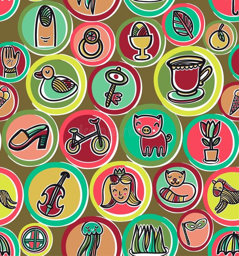 Leuk kleurrijk beeldverhaalpatroon vector illustratie
