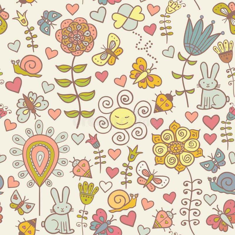 Leuk kleurrijk bloemen naadloos patroon met butterf stock illustratie