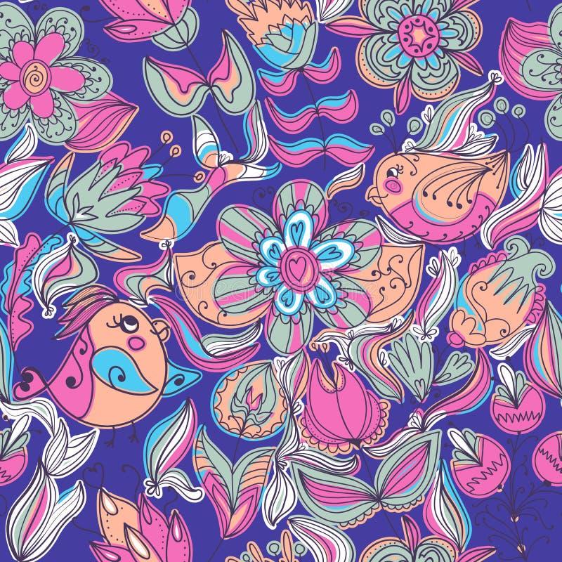 Leuk kleurrijk bloemen naadloos patroon met vogel vector illustratie