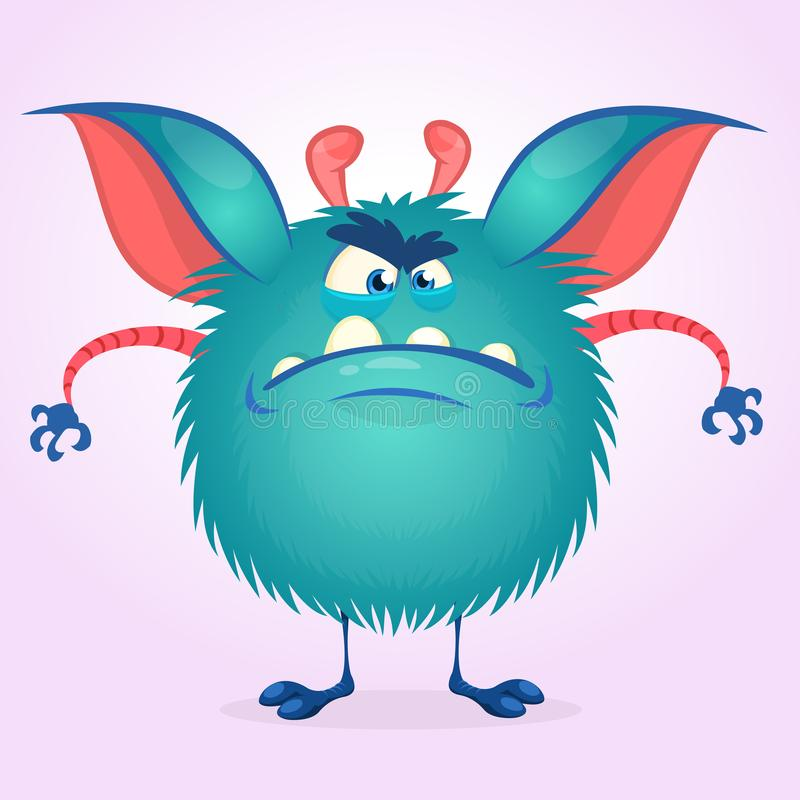 Leuk kleurrijk boos beeldverhaalmonster Vector vet monsterkarakter Halloween-ontwerp vector illustratie