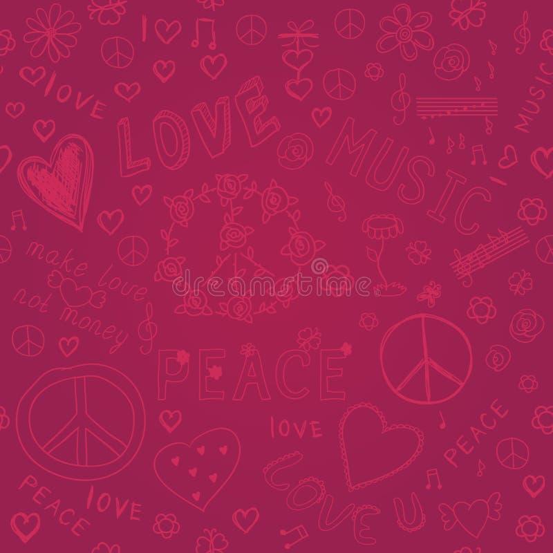 Leuk kleurrijk hand getrokken naadloos patroon met harten, Gelukkige Val royalty-vrije illustratie